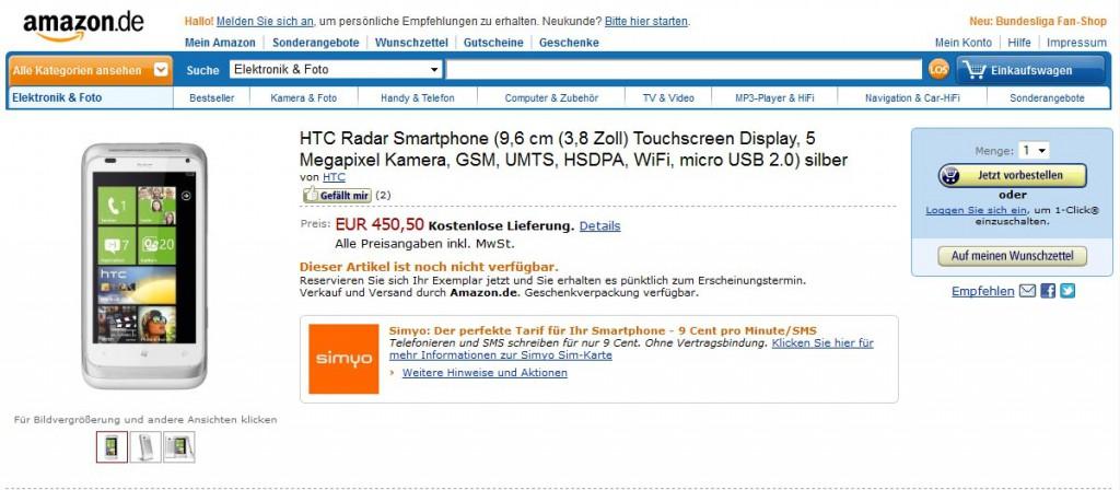 HTC Radar bei Amazon