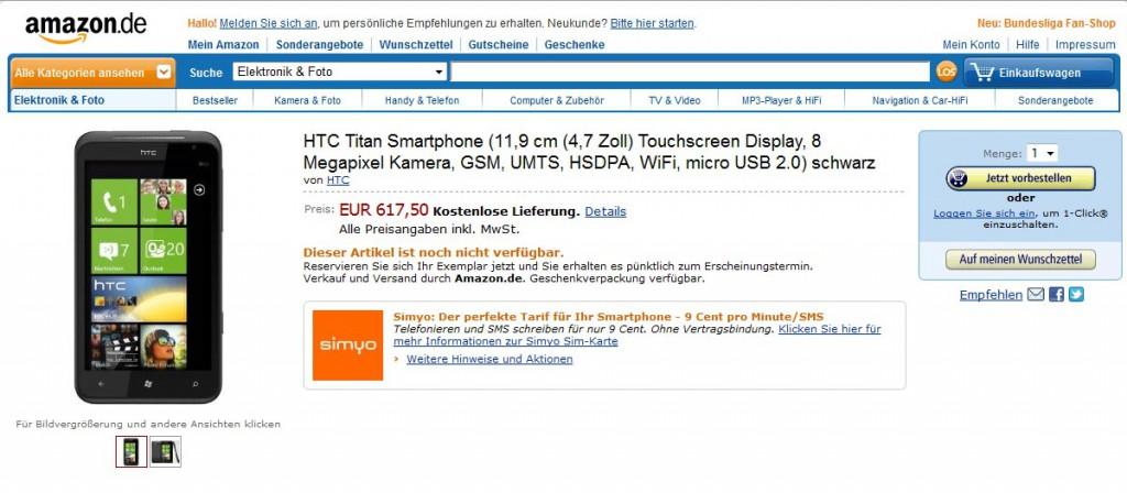 HTC Titan bei Amazon