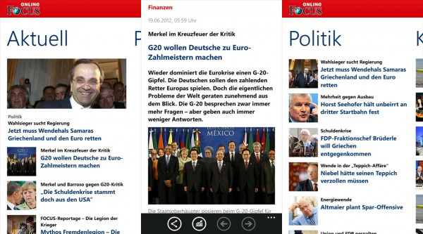 Focus Online App fürs Windows Phone