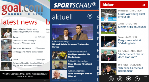 Die Top 3 der Bundesliga Apps fürs Windows Phone zum Saisonstart 2012/13