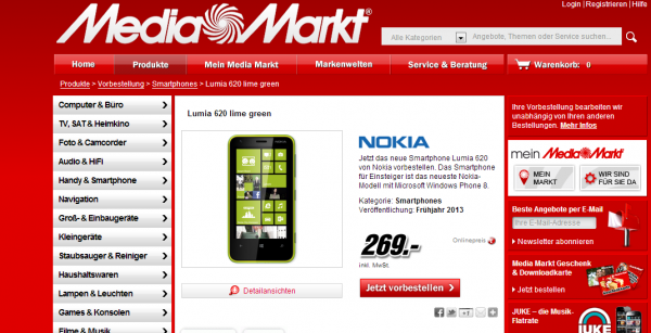 Nokia Lumia 620 für 269€ bei Media Markt