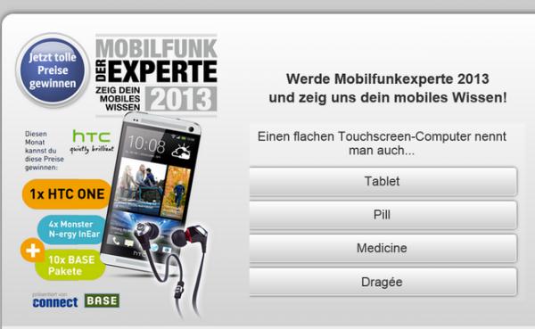 Mobilfunkexperten-Quiz mit Gewinnspiel